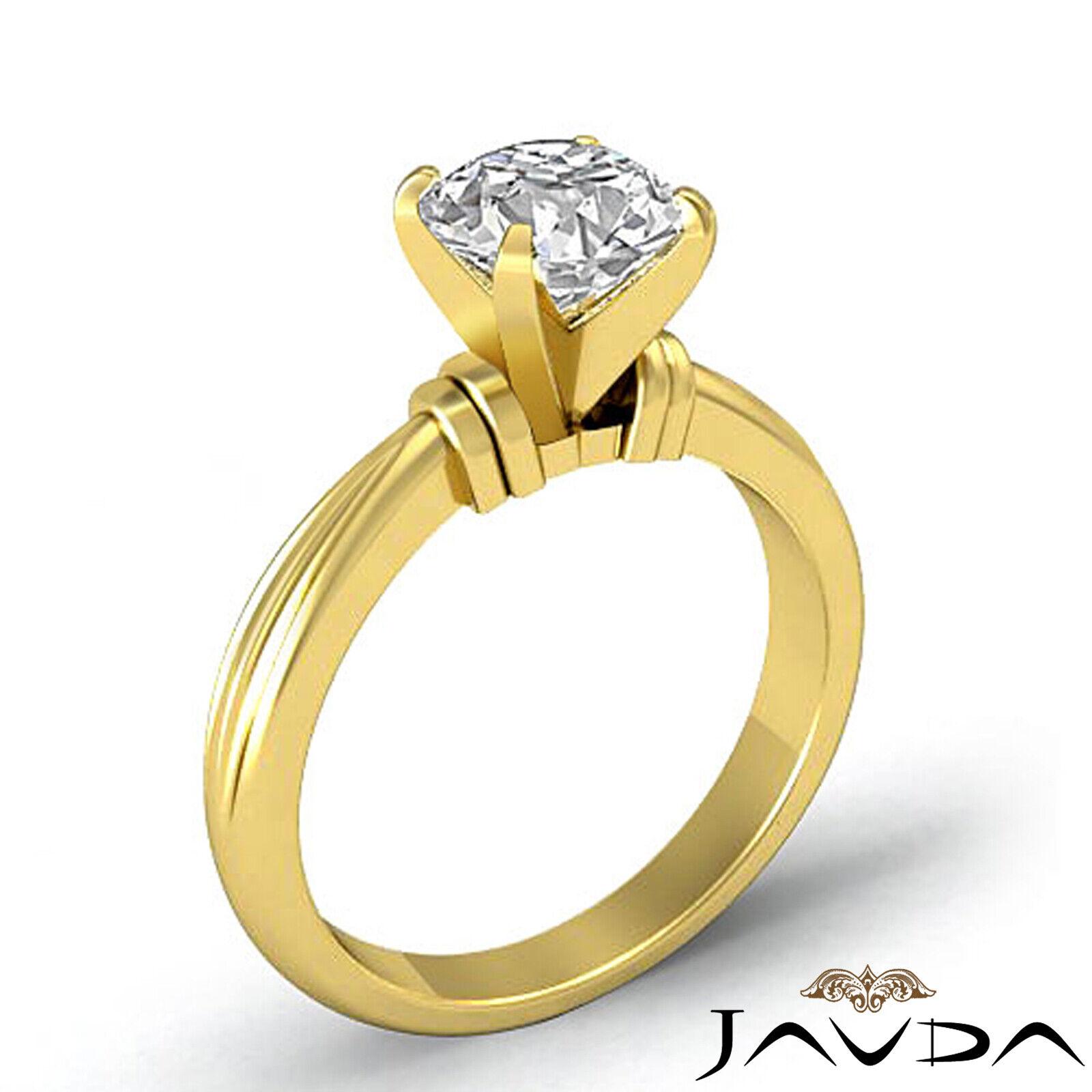 Round Solitaire Natural GIA H Color VVS2 Diamond Women's Engagement Ring 1 ctw. 3