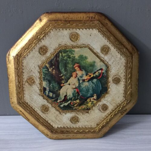 Vintage Florentine Toleware Wooden Gold Gilt Decoupage Wall Plaque Octagon - $17.95