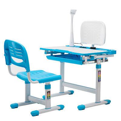 Blue Adjustable Children's Study Desk Chair Set Kids Table W/Desk (Blue Adjustable Desk Lamp)
