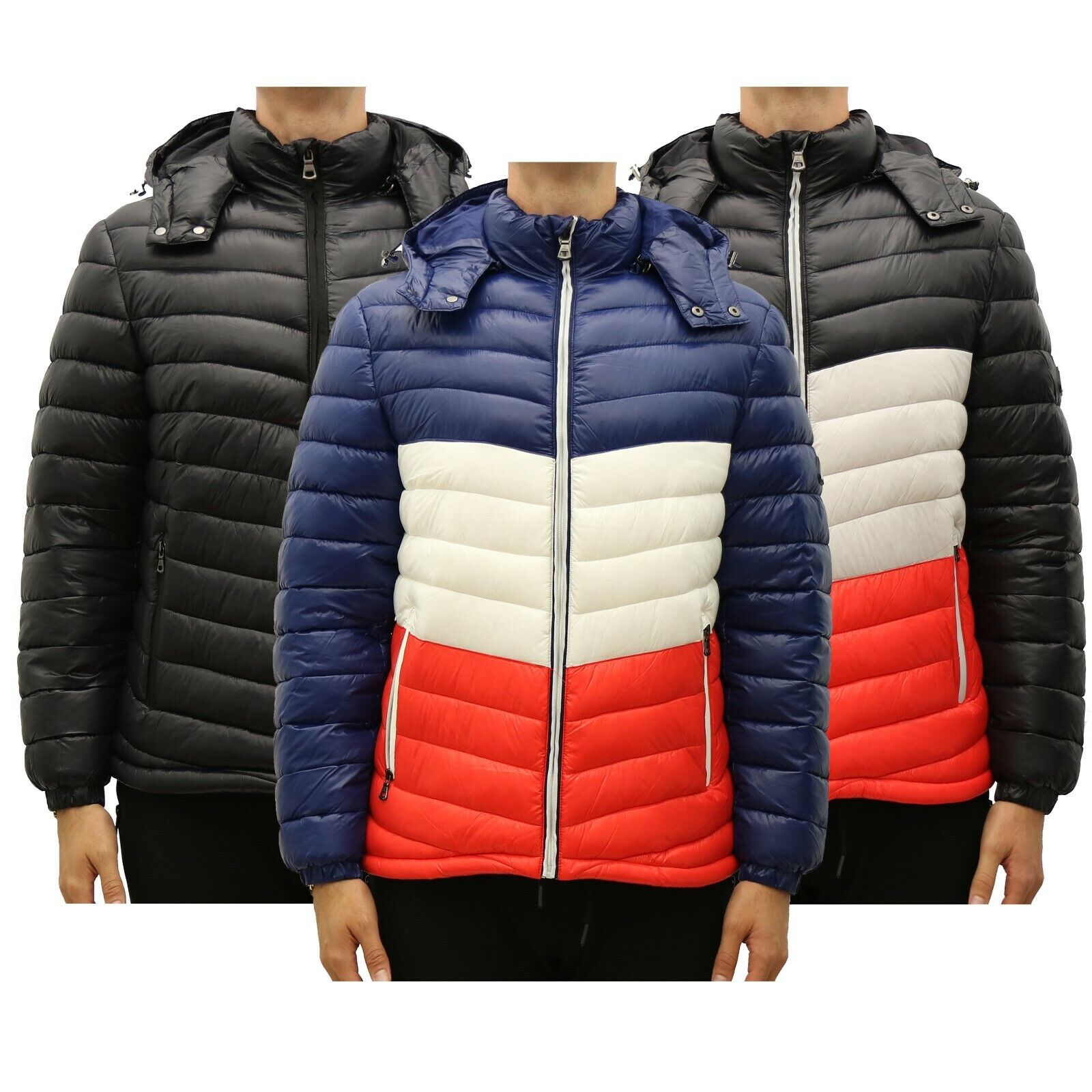 Mens Heavyweight Quilted Shell Hooded Puffer Jacket Water Pr