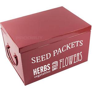 Burgon & Ball Burgundy Vintage Seed Packet Organiser Storage Box Tin Shabby Chic