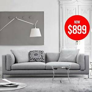 Grey Linen Fabric 3 Seater on SALE - Carlton