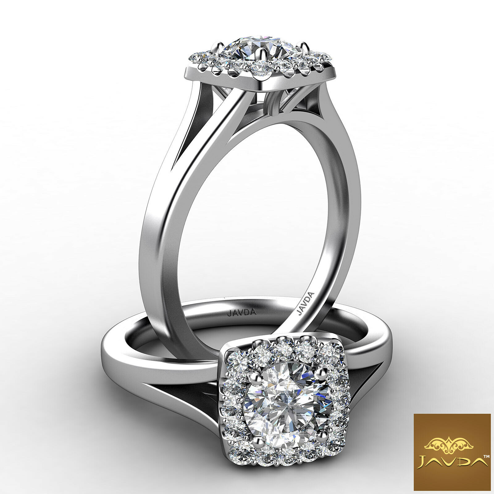 0.9ctw Halo Split Shank Cathedral Round Diamond Engagement Ring GIA H-VS2 W Gold
