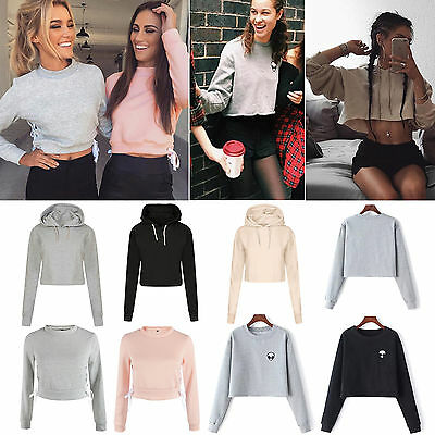 Women Hoodie Jumper Sweatshirt Sweater Casual Crop Top Coat Sports Pullover Tops