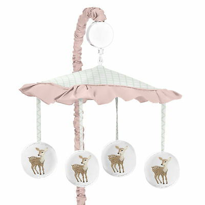 Woodland Deer Floral Sweet Jojo Blush Pink Mint White Musical Baby Crib Mobile - $51.99