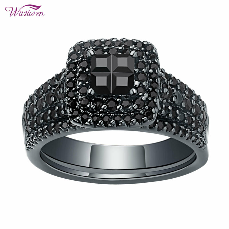 Wuziwen Wedding Engagement Ring Set For Women 1.7ct Princess Cz Black Gold 5-10
