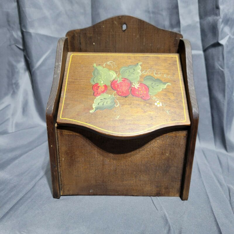 Vtg Wooden Recipe Box Hand Tole Painted Strawberries