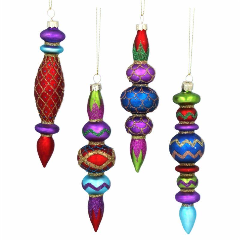 Gisela+Graham+Christmas+-++Glass+Shape+16cm+-+Multicoloured+Finial%2C+4as