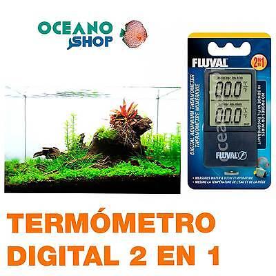 FLUVAL TERMÓMETRO DIGITAL 2 EN 1 LCD MIDE AGUA Y AMBIENTE acuario...