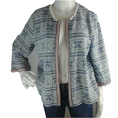 T1 Valerie Stevens sz L Open Front Cardigan Sweater Coat Ikat