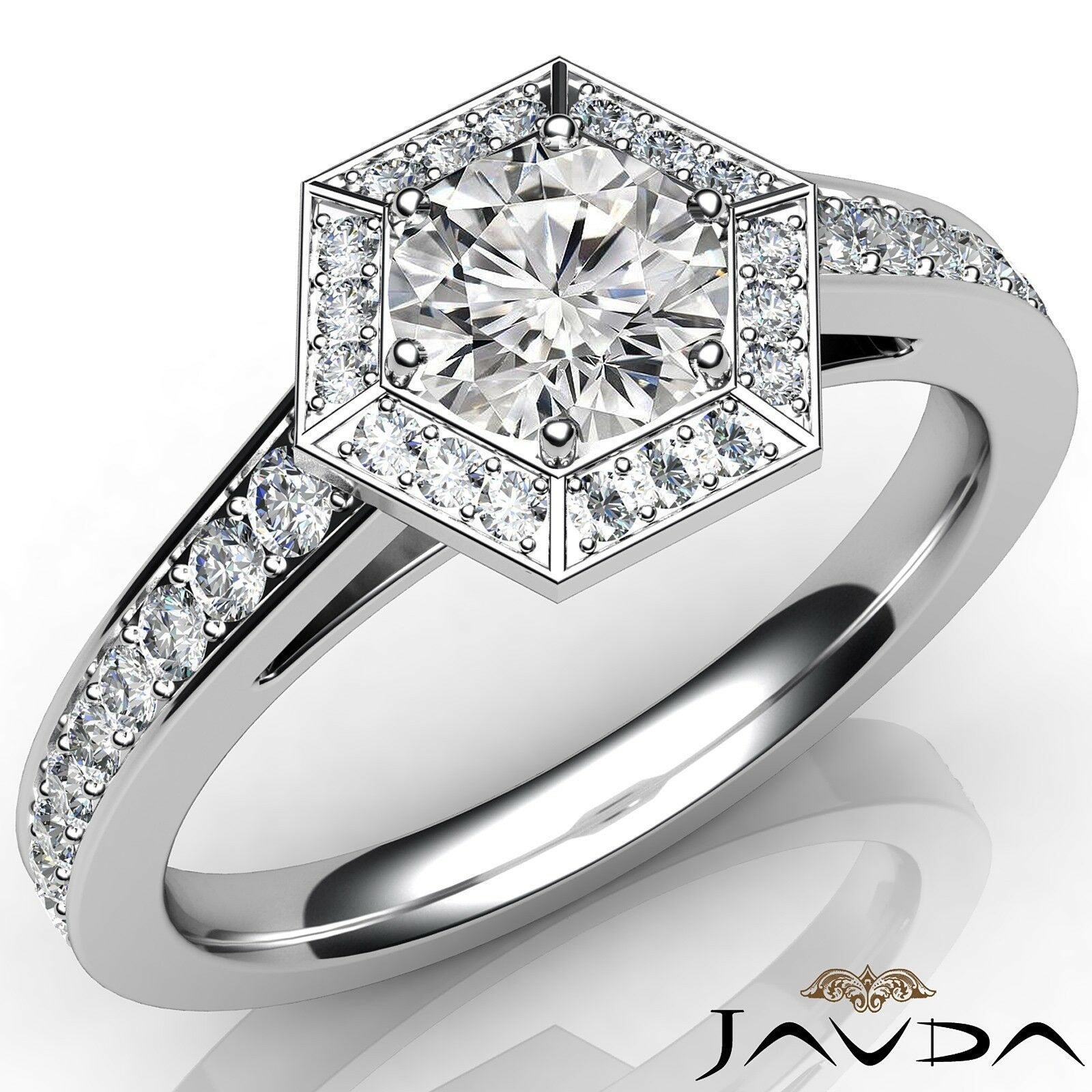 1.3ctw Halo Pave Set Round Diamond Engagement Ring GIA H-VVS1 White Gold Rings