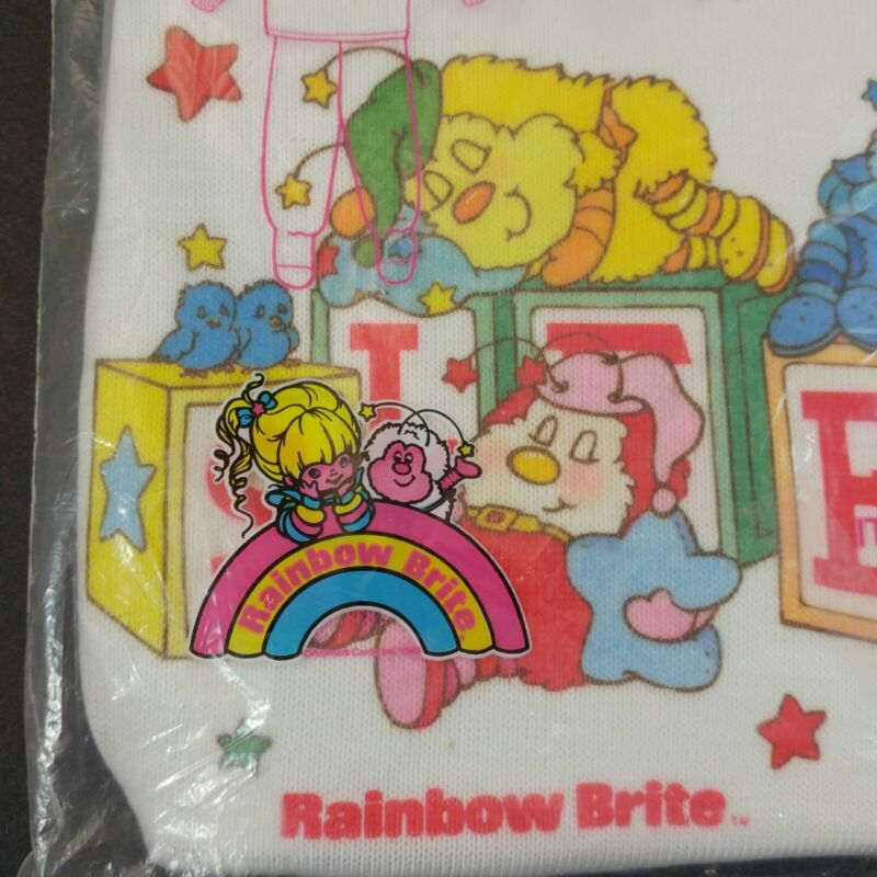 vtg NEW Rainbow Brite kids sleeper 2-piece footed pajamas Sprite footie 80