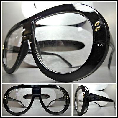 Neu Übergröße Übertriebener Retro-Stil Klarglas Brillen Schwarz Mode Fassung