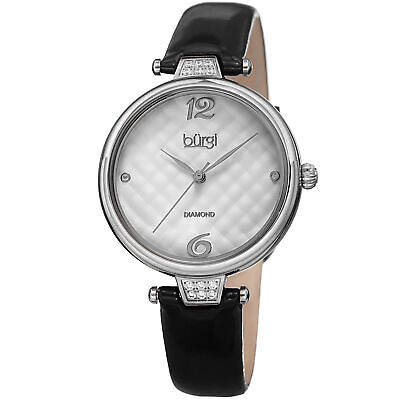 Women's Burgi BUR222BK Diamond Black Quilted Dial Patent Leather Strap Watch