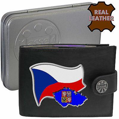 CZECH REP Mens Real Leather Wallet  CZECH Flag map and Emblem Mans Česká Chek