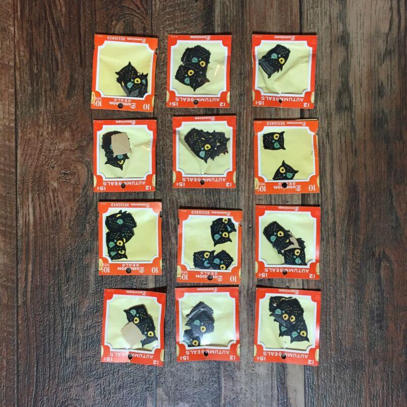 Pack of VINTAGE Dennison HALLOWEEN Gummed Seals Owl RARE HTF Sticker
