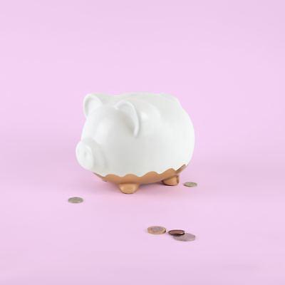 XL Rotgold Abgeblendet Sparschwein Keramik Groß Weiß Spardose Schwein