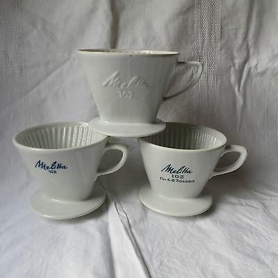 3 verschiedene alte Melitta Porzellan Kaffeefilter weiß 102 2/4 Loch Filter