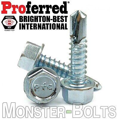 10 Tek Screws - Indent Hwh Hex Washer Head Unsloted Zinc 3 Point Self Drilling