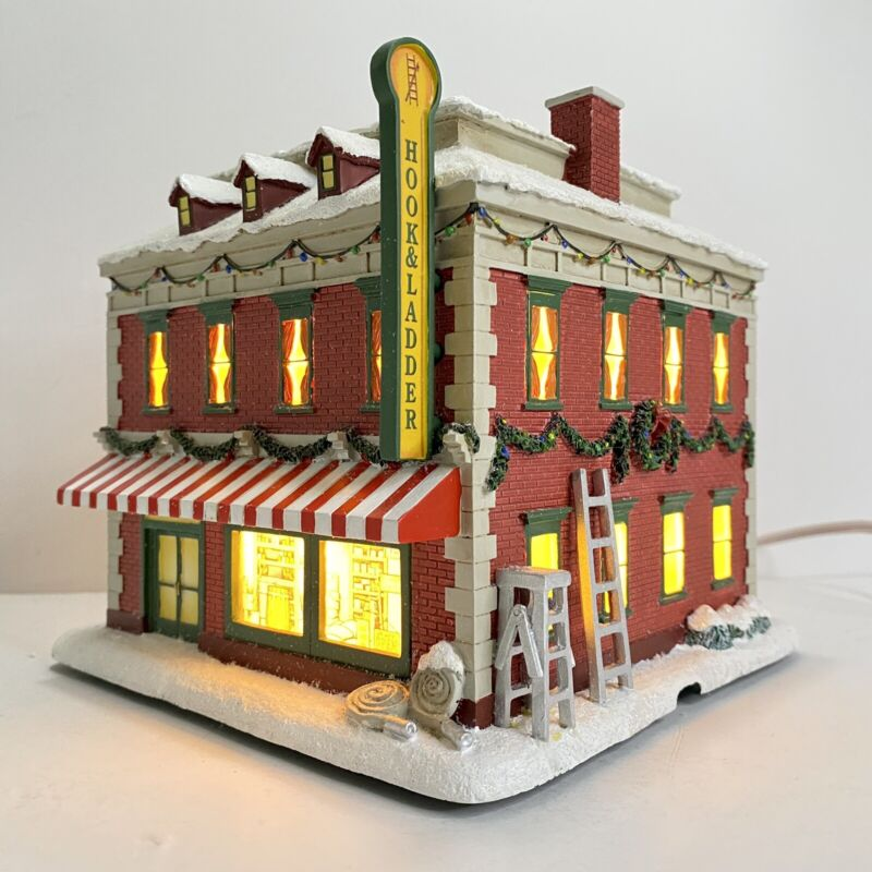 Christmas Hawthorne Village Hook & Ladder Hardware Store Lights Firefighters 07