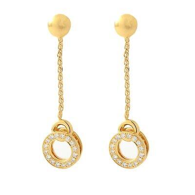 18K Yellow Gold Diamond Dangle Earrings Chain w/Diamond Circle