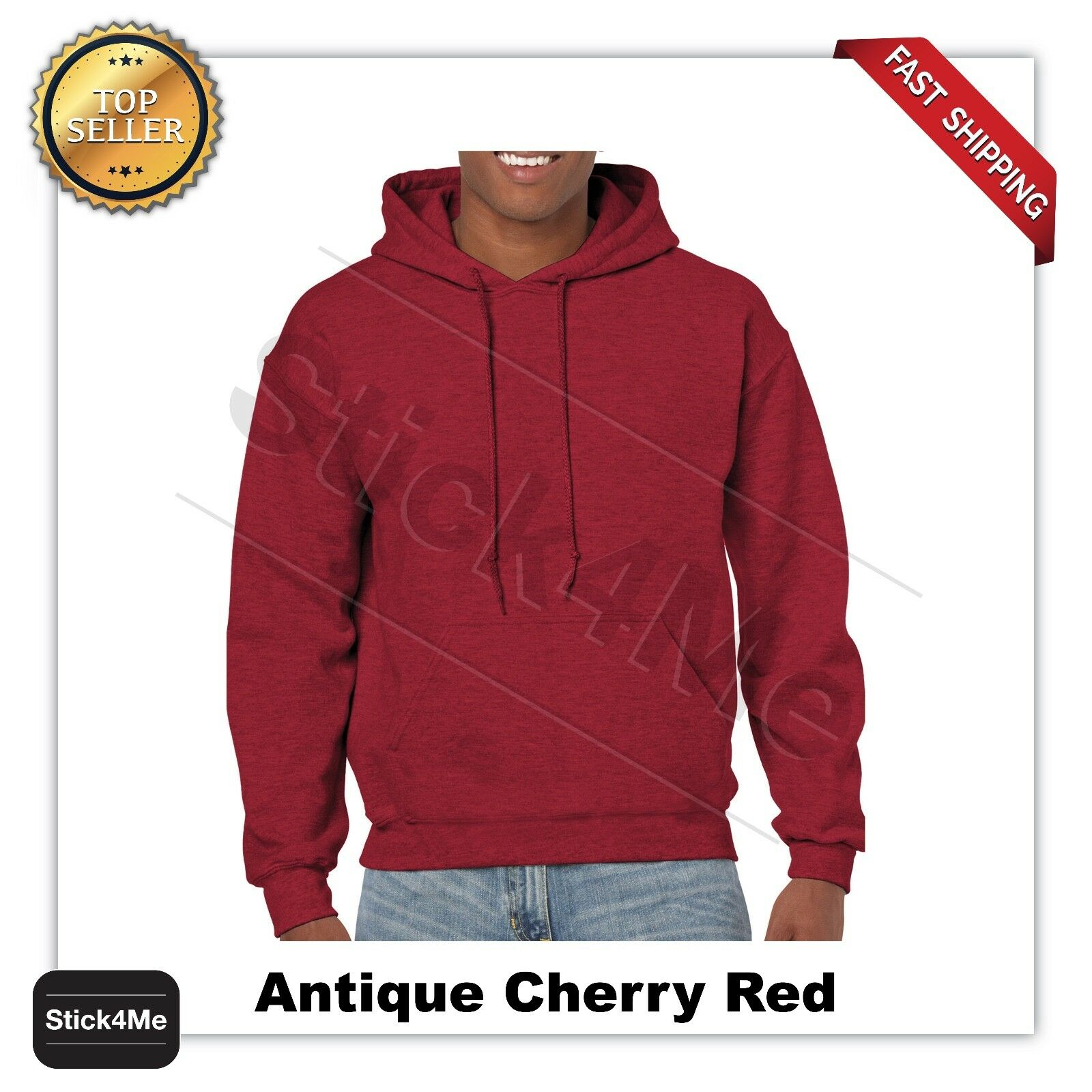 1 Cherry Red Gildan G18500 Heavy Blend Adult Hooded Sweatshirt S 1 Royal