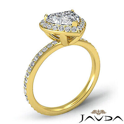 2 ct Halo Pave Heart Diamond Engagement Brilliant Ring 14K White Gold F SI1 GIA 9