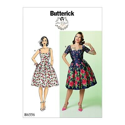 Retro sewing pattern, dress, Fifties 50s style B6556, Gertie notch neck, sleeves 50's Style Retro Neck