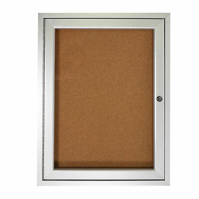 1 Door Enclosed Natural - Ghent 1 Door Enclosed Natural Cork Bulletin Board Satin Frame 36
