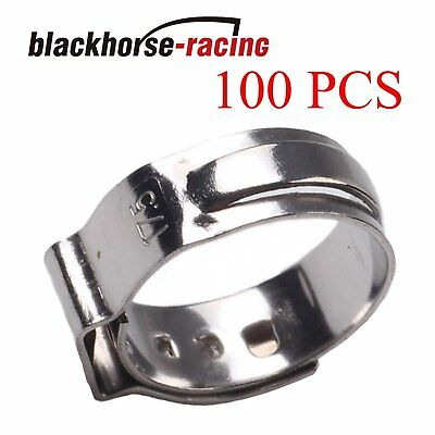 100x 12 Pex Clamp Cinch Rings Crimp Pinch Fittings 304 Stainless Steel