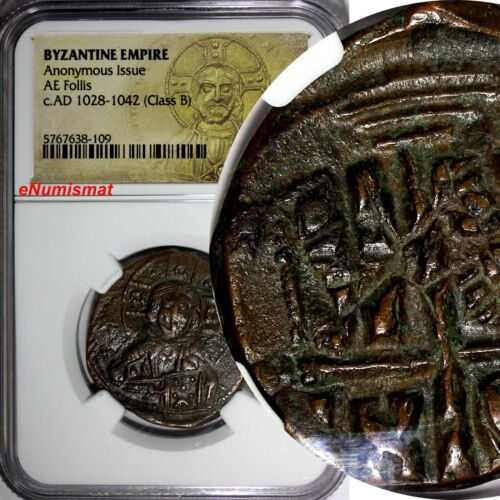 Byzantine Empire, AE Follis (Anonymous, AD 1028-1042) Portrait of Christ NGC