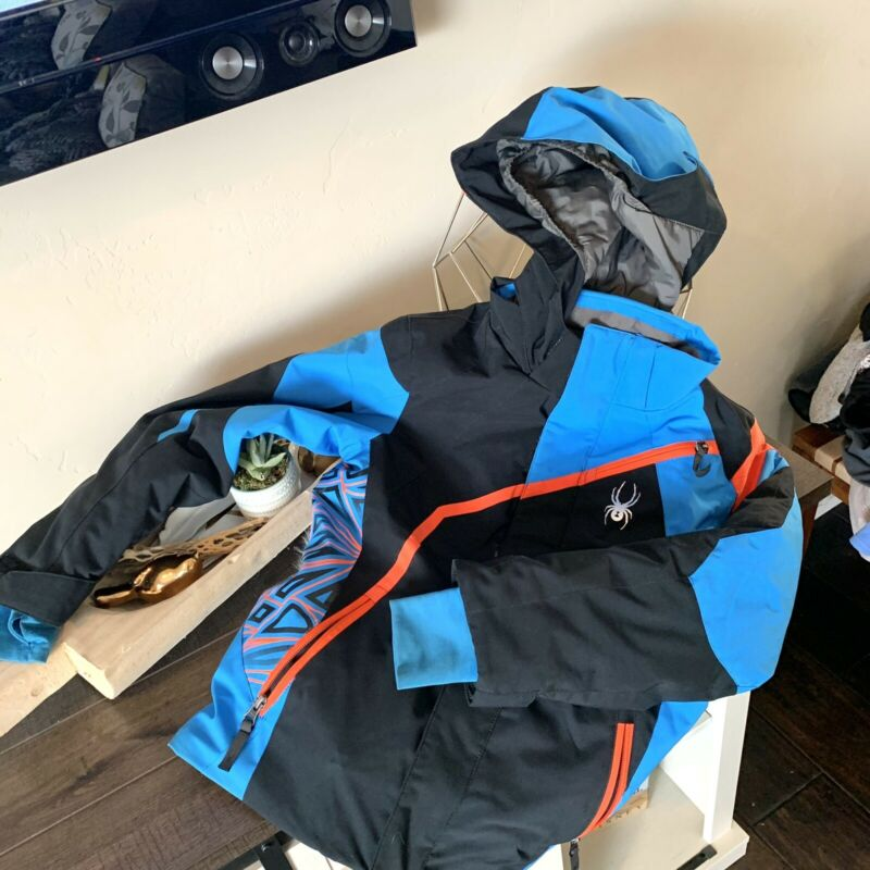 Spyder Boys Size 10 Youth WINTER COAT Snow Ski Jacket Blue black Hooded