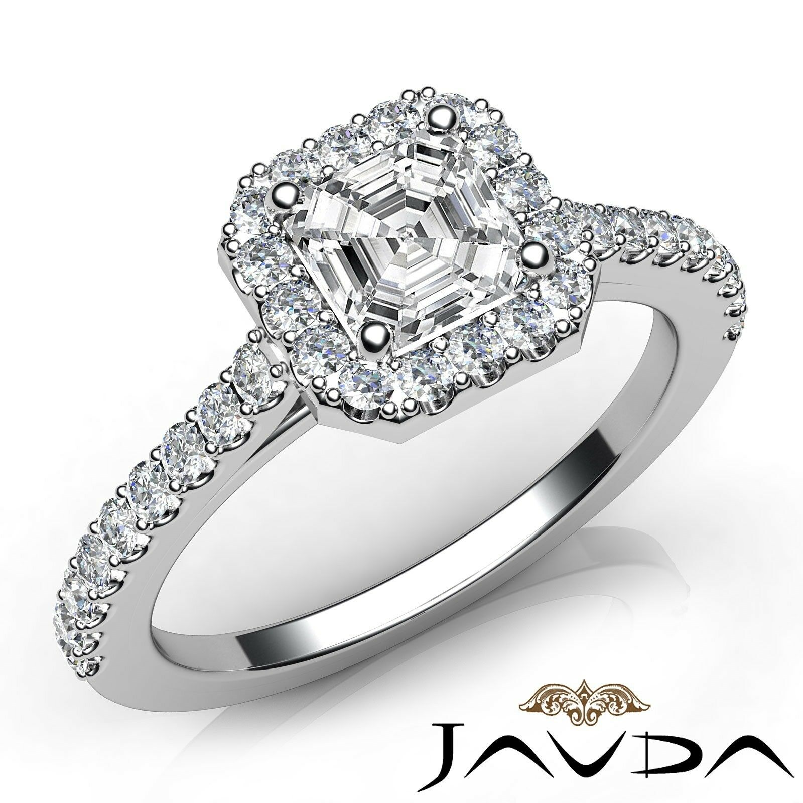 1.51ctw Gala Halo Pave Asscher Diamond Engagement Ring GIA E-VS1 White Gold New