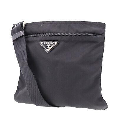 PRADA Logos Shoulder Bag Black Nylon Canvas Italy Vintage Authentic #AB28 O