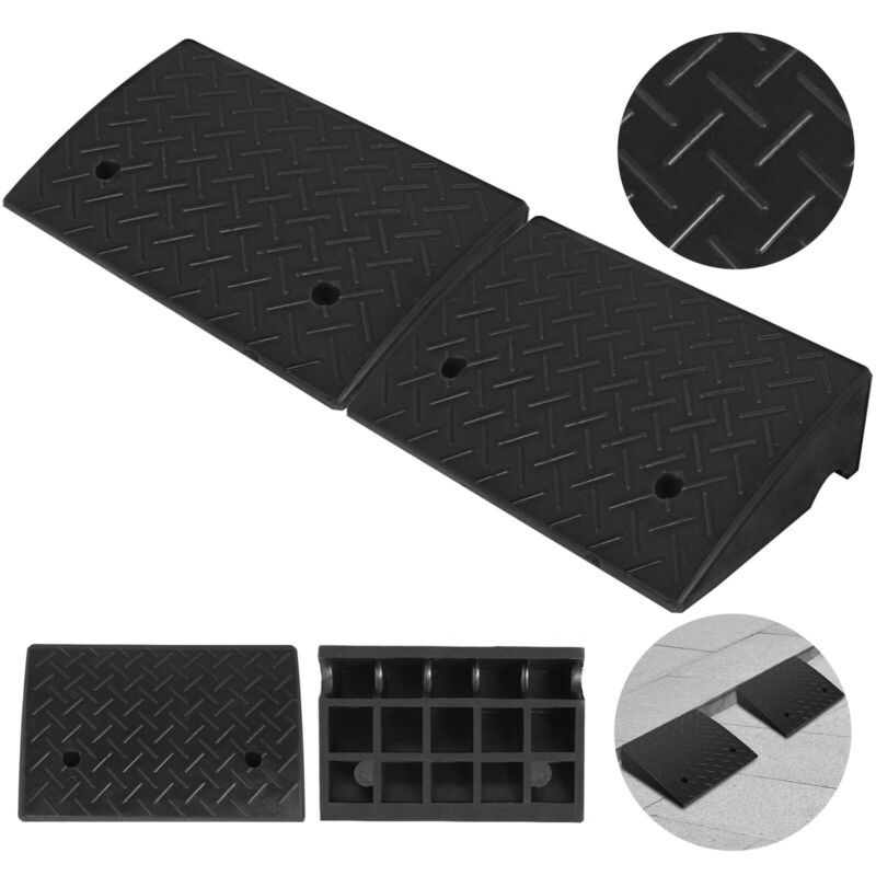 """Rubber Curb Ramp 2 Pack 5.2"""" Heavy Duty Skid Resistance 19"""