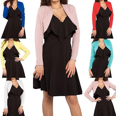 Giacca giacchetto donna corto bolero copri spalle elegante manica lunga new 3815