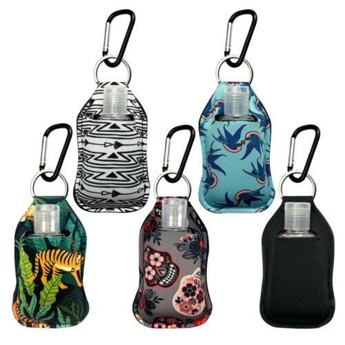 5 pcs Fashion Neoprene Sanitizer Holder Keychain with Carabiner Clip