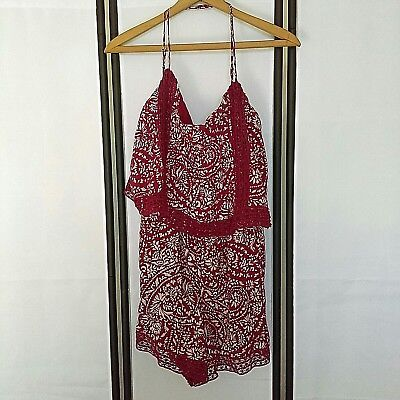 Abercrombie & Fitch Dress Red and White Floral Off The Shoulder Bodycon Sz L