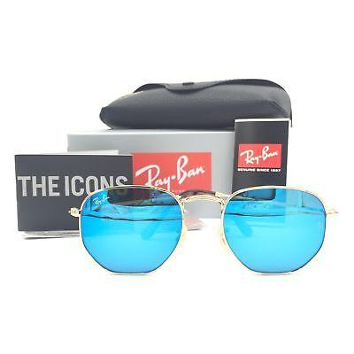 New Ray-Ban RB3548N 001/9O Gold Hexagonal Sunglasses w/ Blue Mirror Lenses 51mm