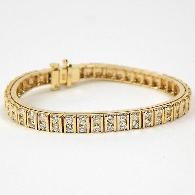 Double Row Diamond Flexible Link Tennis Bracelet 14 kt Yellow Gold 6 1/4