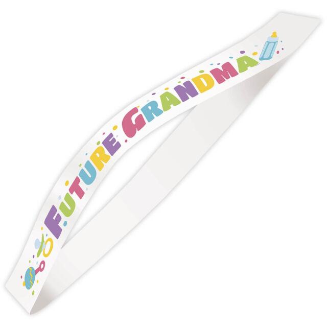 White FUTURE GRANDMA New Baby Shower Party Fancy Dress Satin Sash