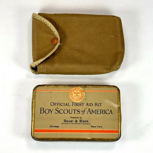 BOY SCOUT Official First Aid Kit Tin Bauer & Black w/Pouch Vintage 1928 BSA