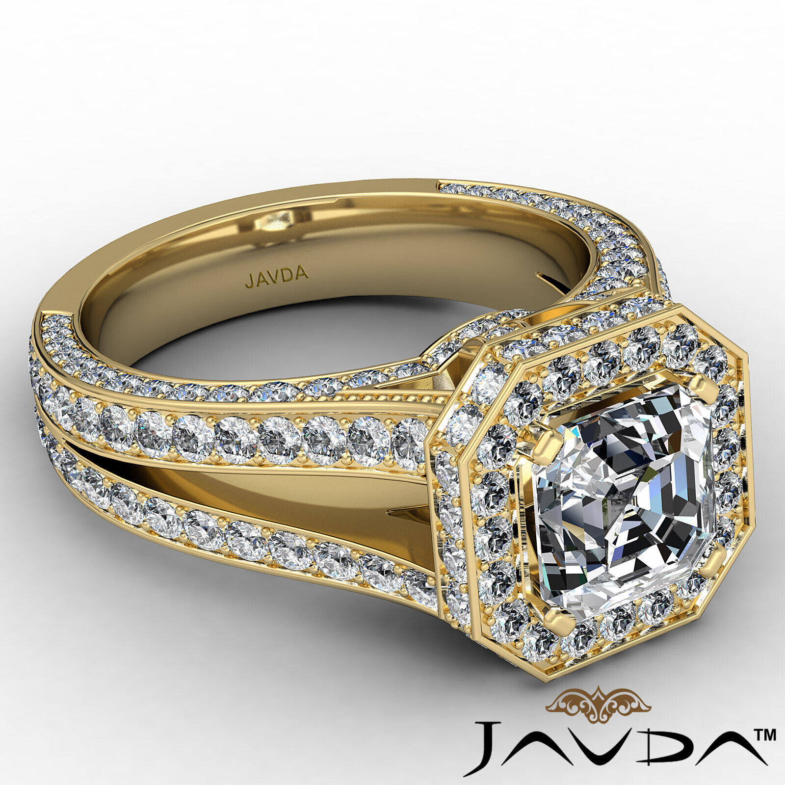 Halo Asscher Diamond Engagement Ring GIA Certified G Color & SI2 clarity 2.4 ctw 7