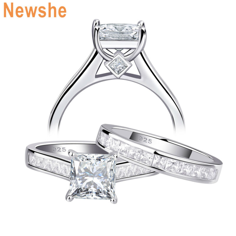 Newshe Wedding Engagement Ring Set For Women 1.8ct Princess Cz Sterling Silver