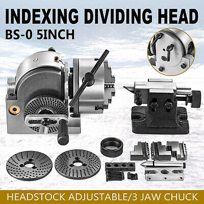Bs-0 Semi 5 Indexing Spiral Dividing Head 3-jaw Chuck Tailstock For Cnc Milling