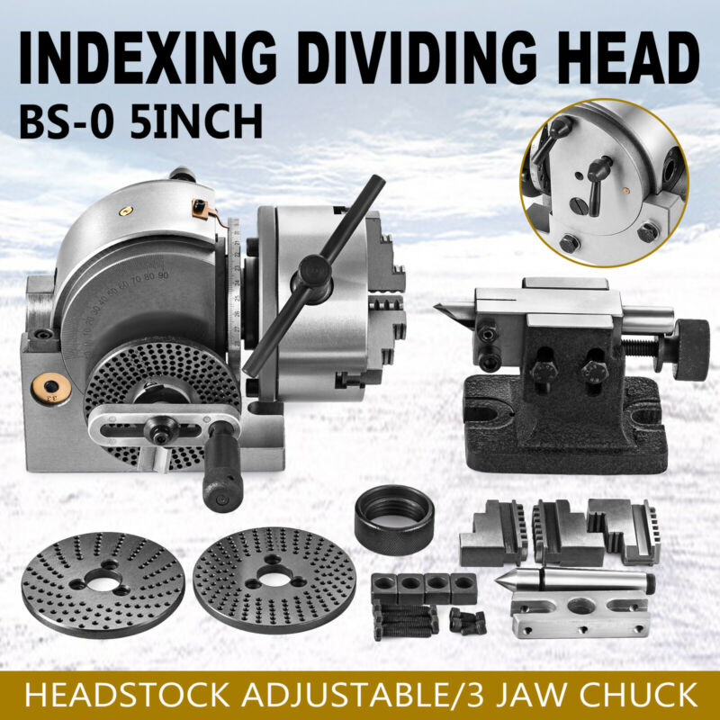 "BS-0 Semi 5"" Indexing Spiral Dividing Head 3-Jaw Chuck Tailstock For CNC Milling"