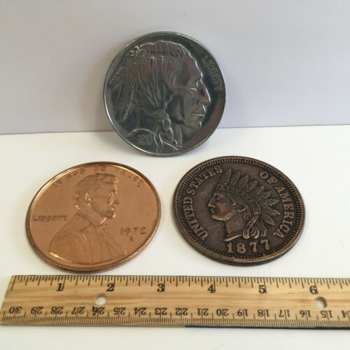 "Lot of 3 Jumbo novelty coins 1913 Buffalo Nickel 1972 Penny 1877 Indian Head 3"""