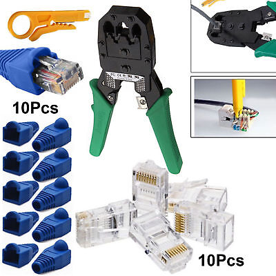 RJ11 RJ45 Cat6 Cat7 Ethernet Network Cable Crimping Tool Stripper Boot Connector