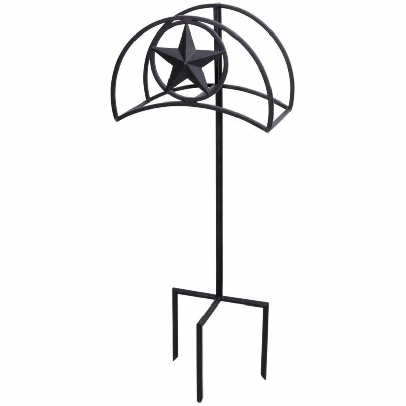 Liberty Garden Outdoor Garden Hose Stand Holder Hanger with Star Design, Black