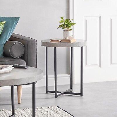 VonHaus Concrete-Look Round Side Table Modern Lightweight Contemporary Furniture